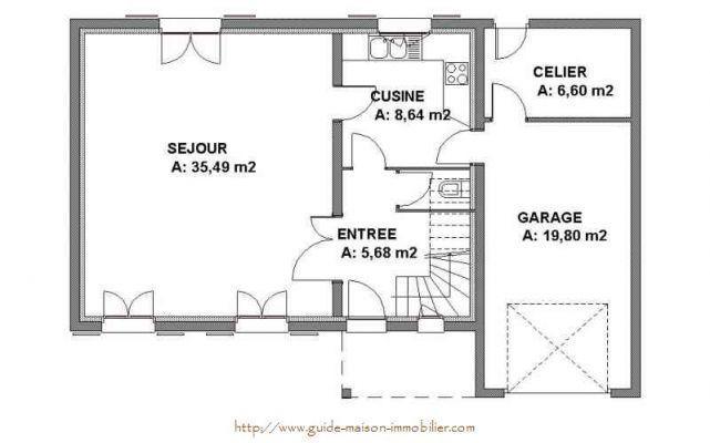 plan de maison 64m2